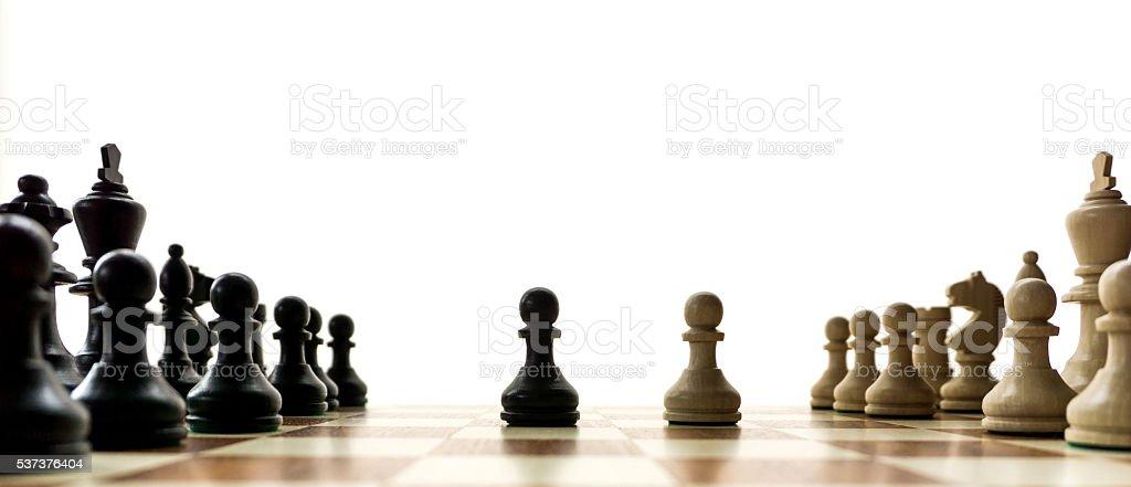 chess game panorama stock photo