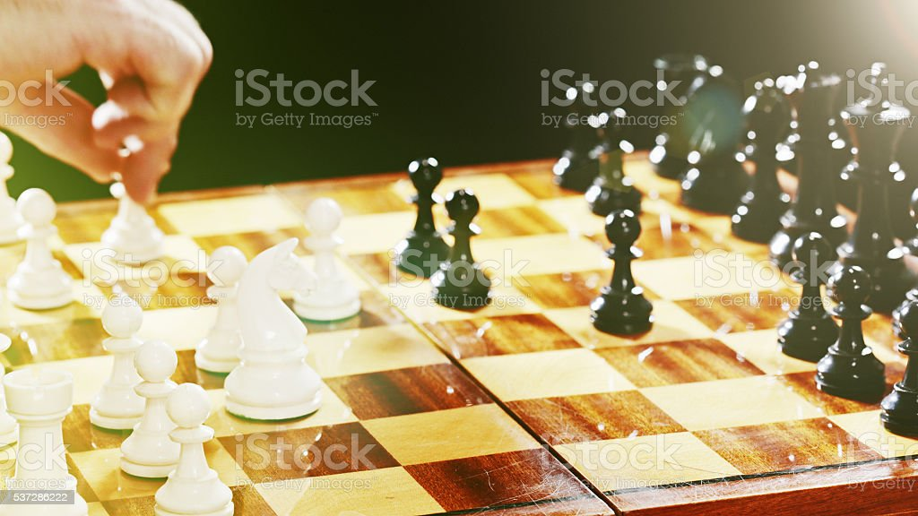 Chess game, soft focus, chessmen, pawn, chess move stock photo