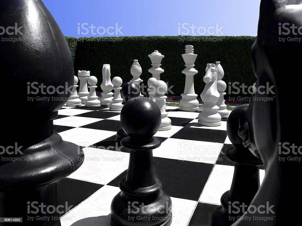 Chess in a garden stock photo