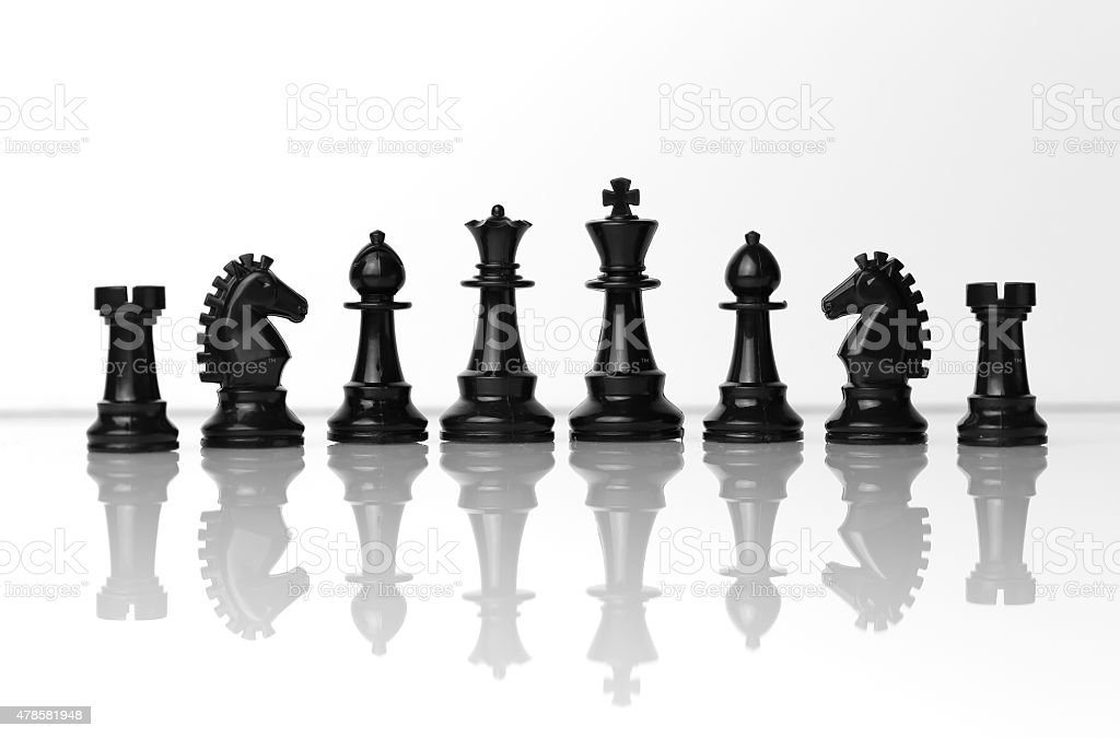 Chess in a row stock photo