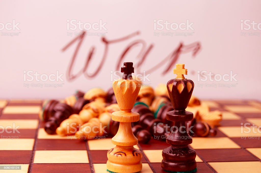 Chess. In war there are no winners. stock photo