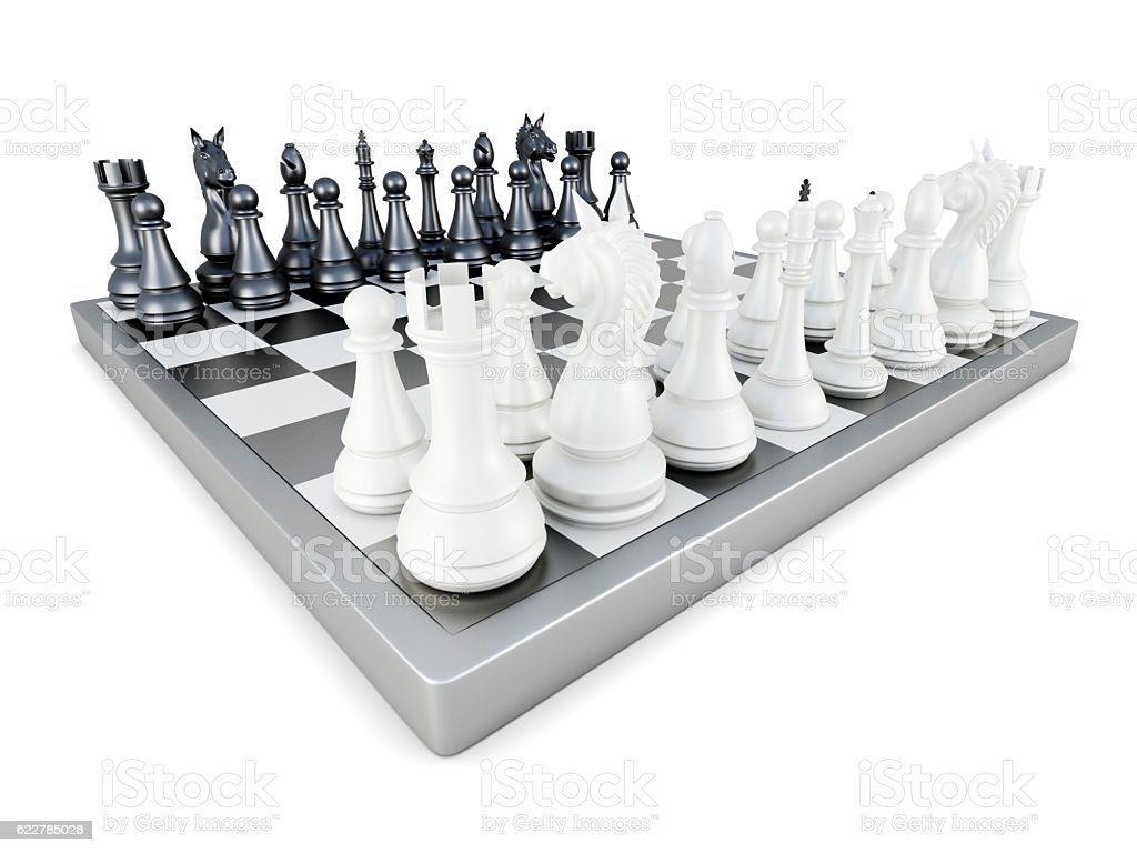 Chess isolated on white background. 3d rendering stock photo