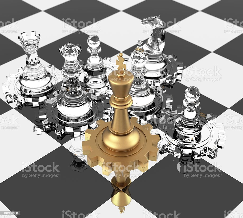 Chess King and Gears royalty-free stock photo