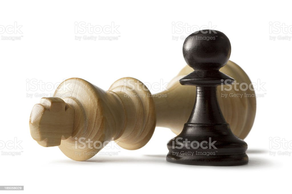 Chess: King and Pawn Isolated on White Background stock photo