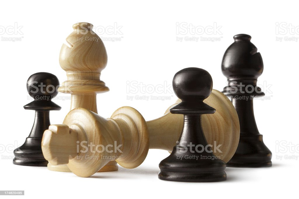Chess: King, Bishop and Pawn royalty-free stock photo
