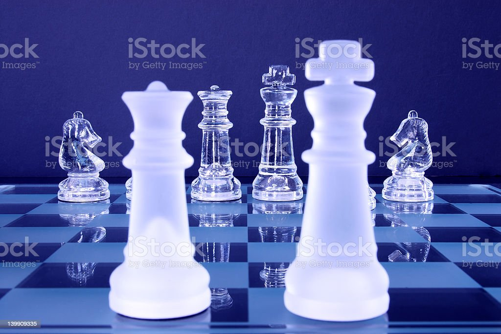 Chess King Queen Knights stock photo