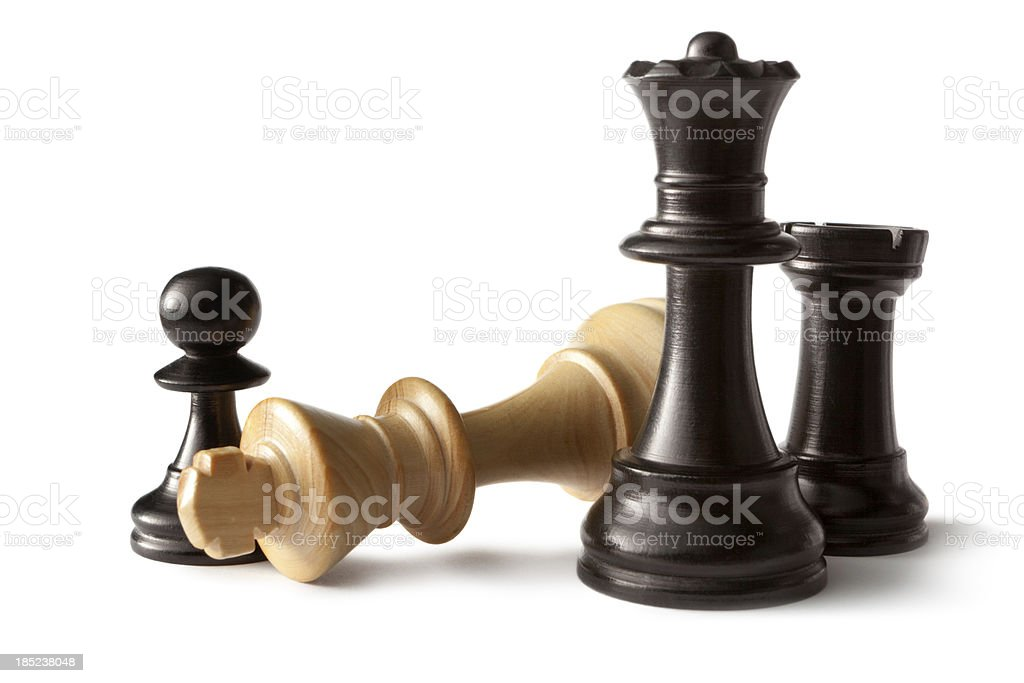 Chess: King, Queen, Pawn and Rook stock photo