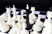 Chess king surrounded by enemies. Captivity and defeat
