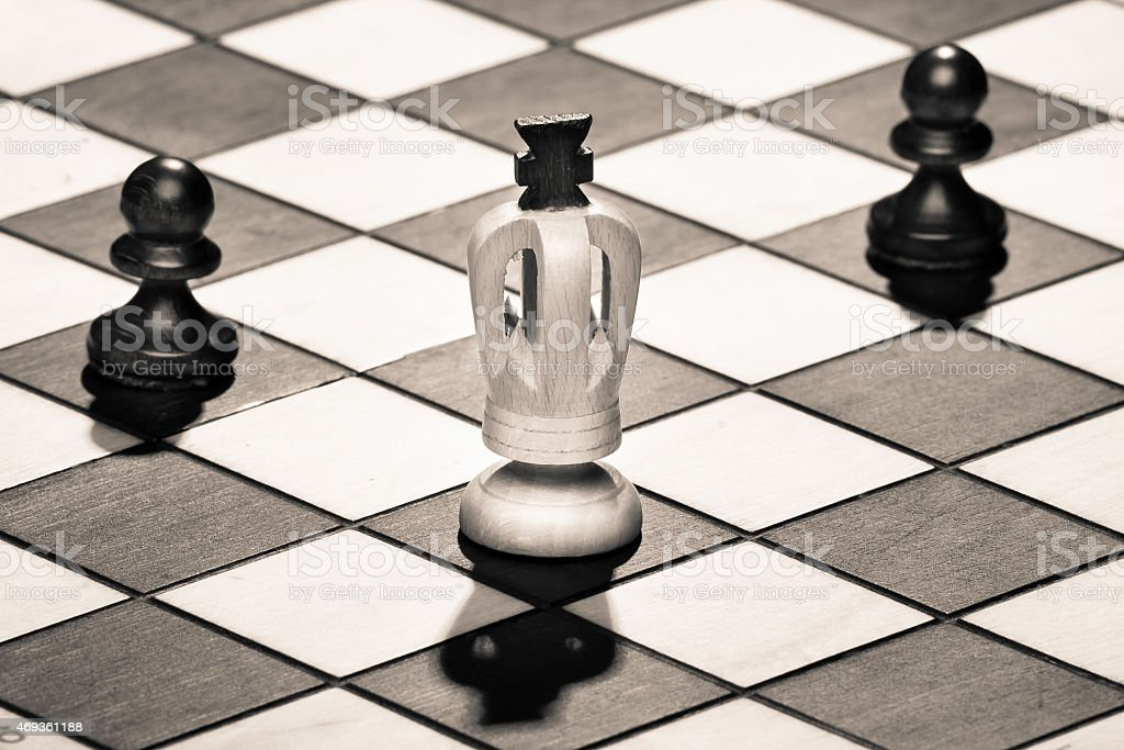 chess king with pawns stock photo