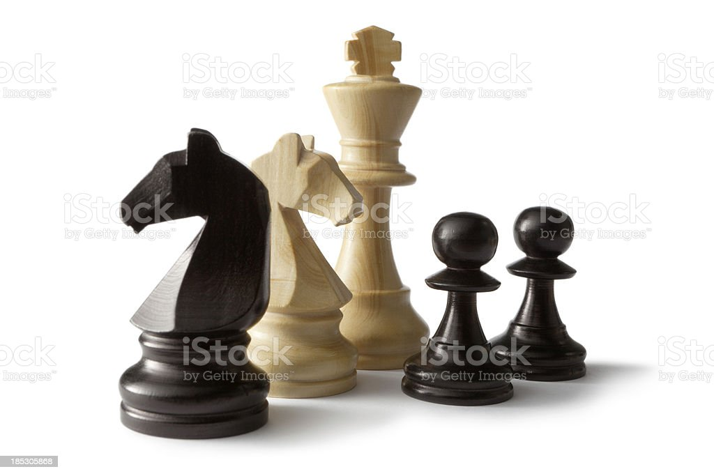 Chess: King,Knights and Pawns stock photo