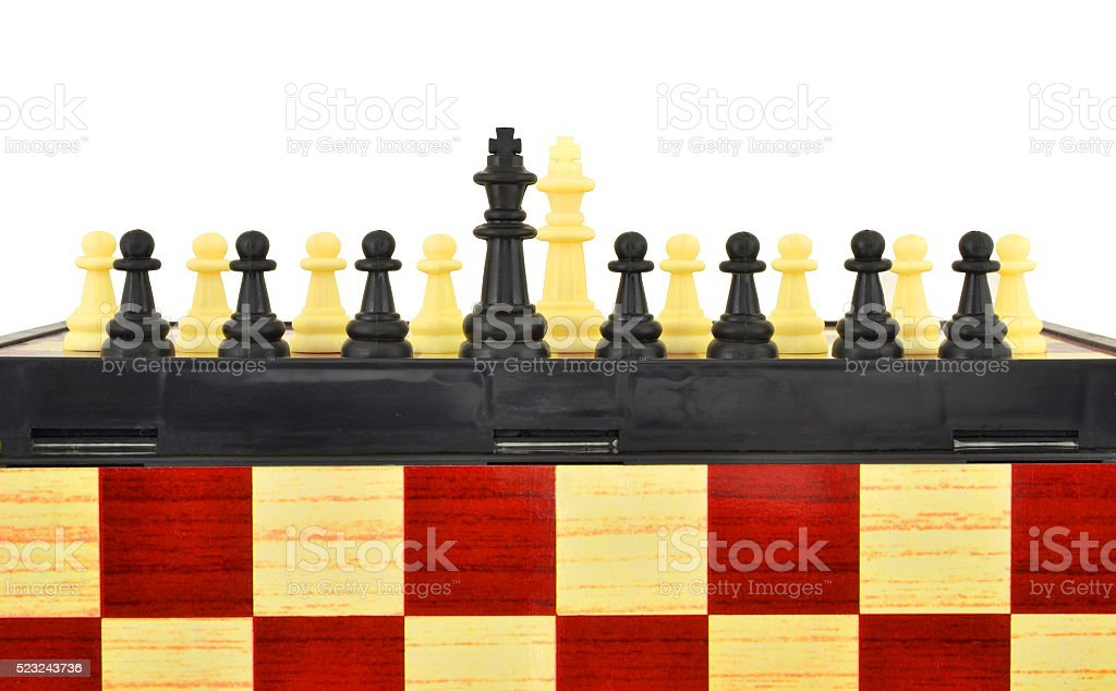 Chess on the chessboard stock photo