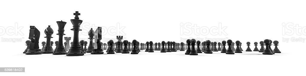 Chess piece panorama stock photo