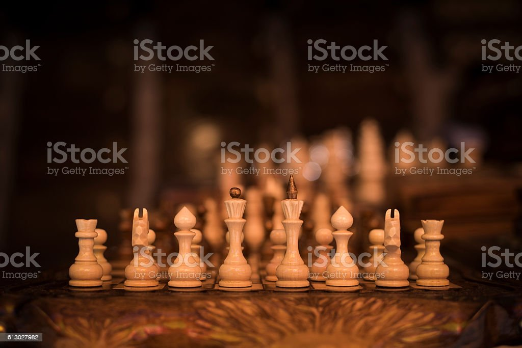 Chess pieces and board in Armenia stock photo
