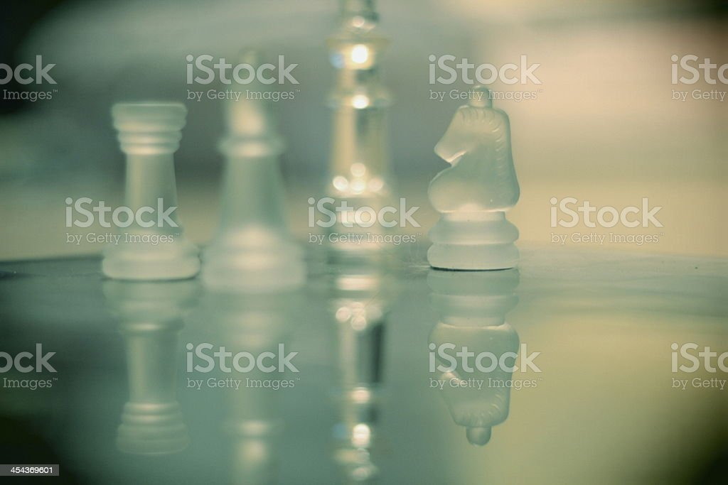 Chess pieces and reflexion stock photo