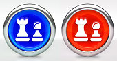 Chess Pieces Icon on Button with Metallic Rim