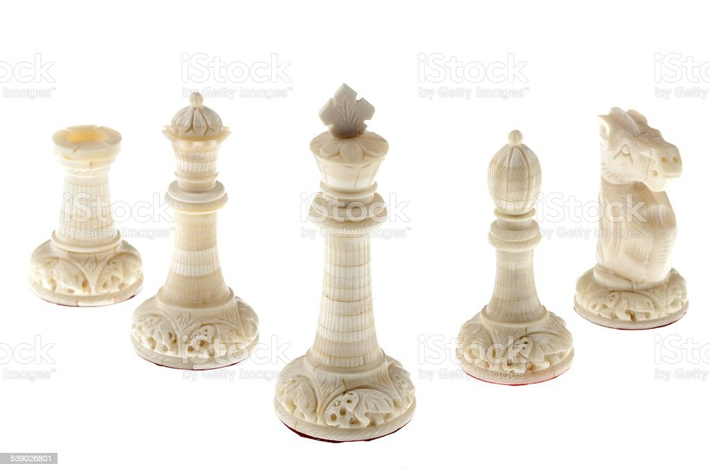 chess pieces isolated on white background stock photo