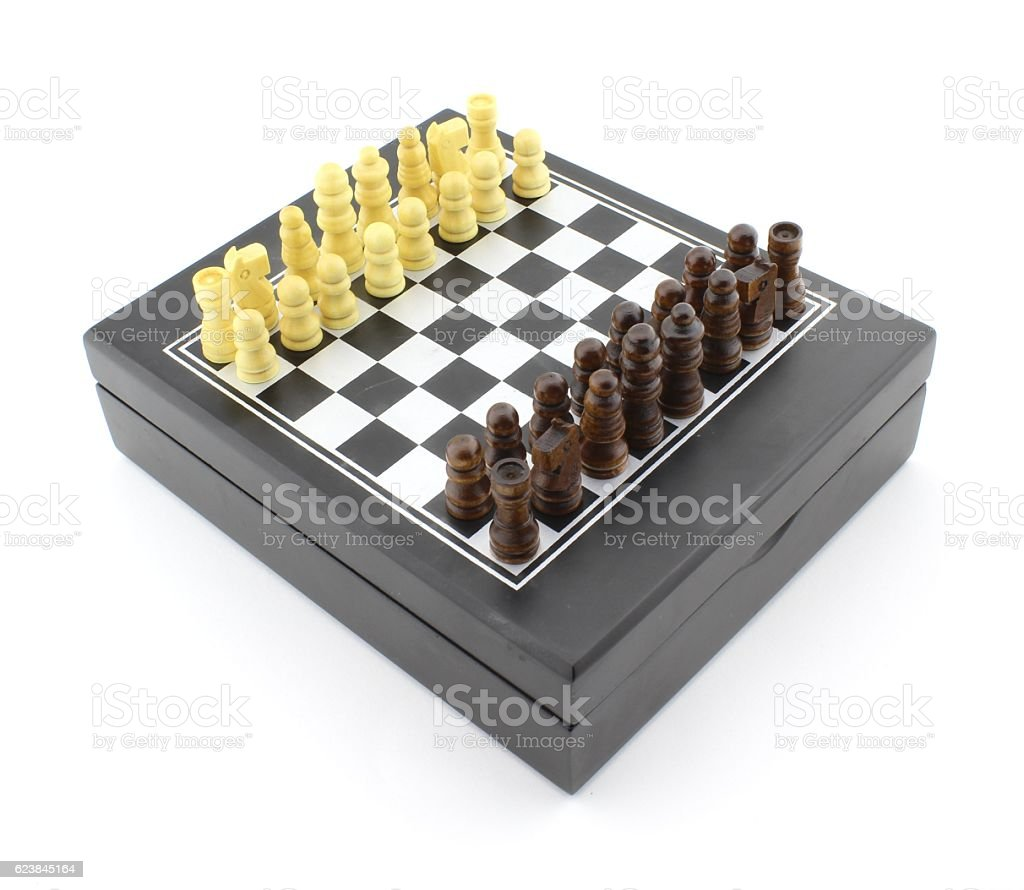 Chess pieces lined up on chessboard stock photo