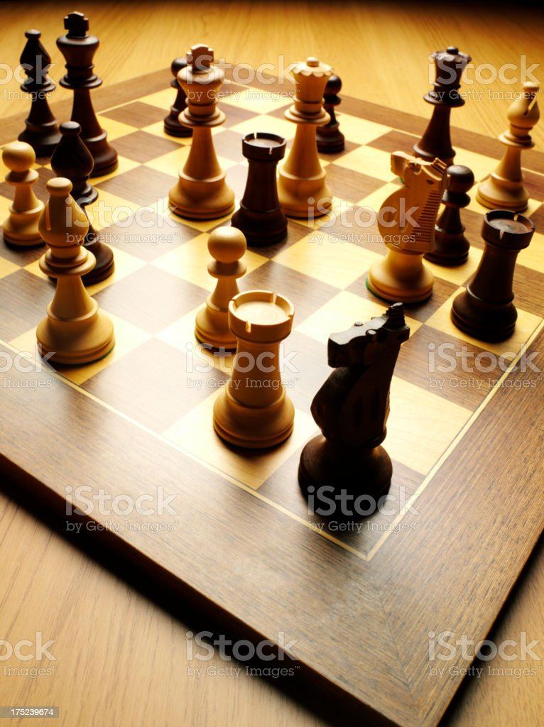 Chess Pieces on a Wooden Board royalty-free stock photo