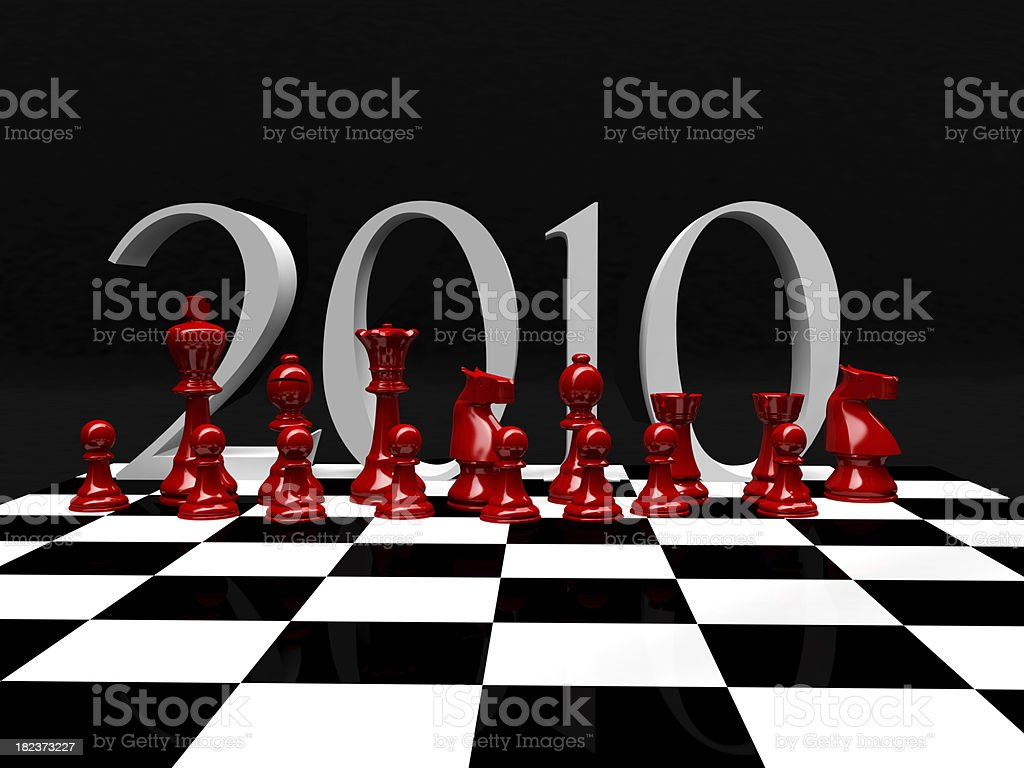 3D Chess Pieces on Chessboard with 2010 royalty-free stock photo