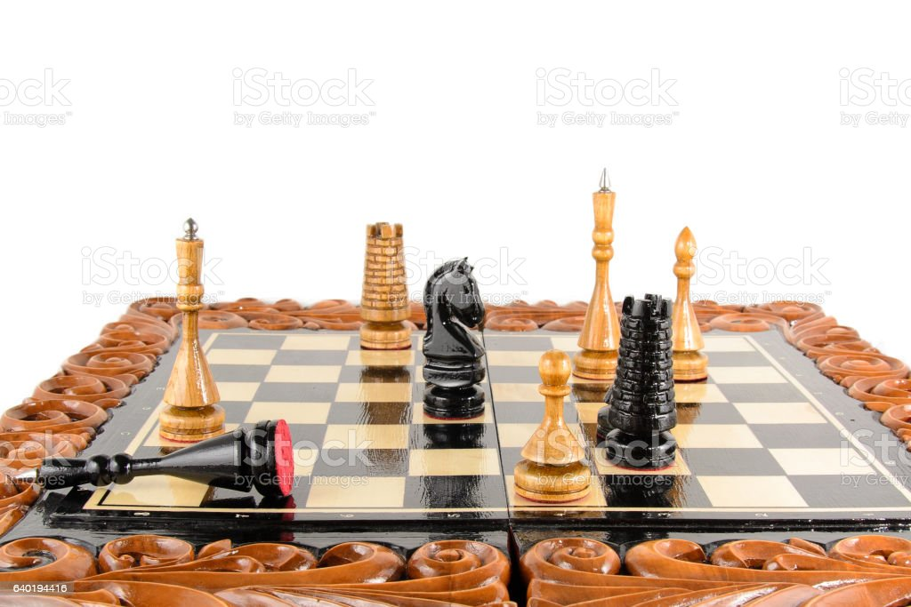 chess pieces on the board stock photo
