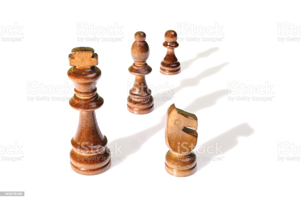 Chess pieces on white background stock photo