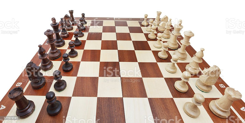 chess pieces placed on board royalty-free stock photo