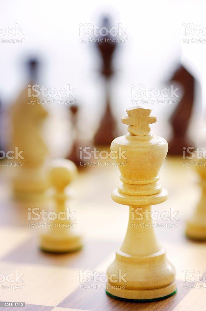 Chess pieces / white king stock photo