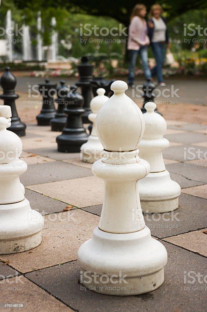 Chess playground at park stock photo