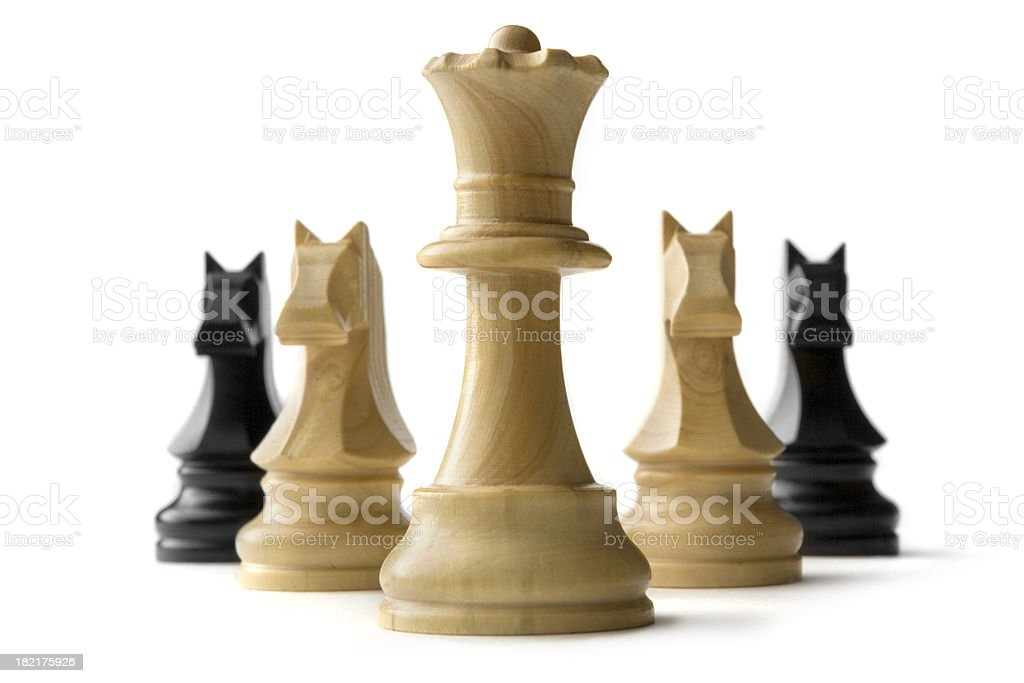 Chess: Queen and Knights Isolated on White Background stock photo