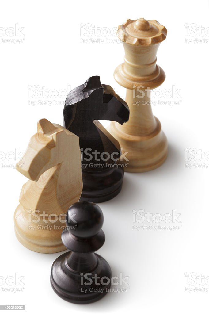 Chess: Queen, Knights and Pawn stock photo
