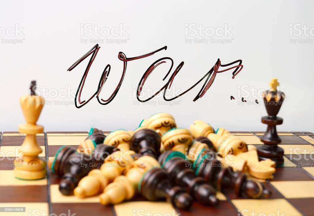 chess symbols of war and death stock photo