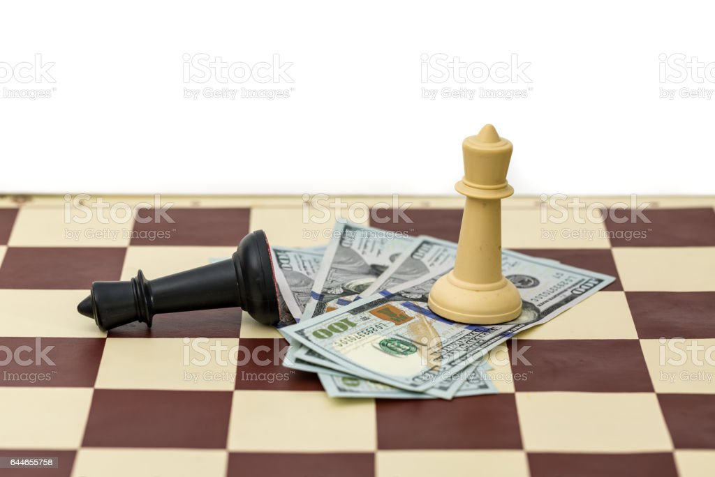 Chess victory and money stock photo