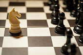 Chess white horse moving