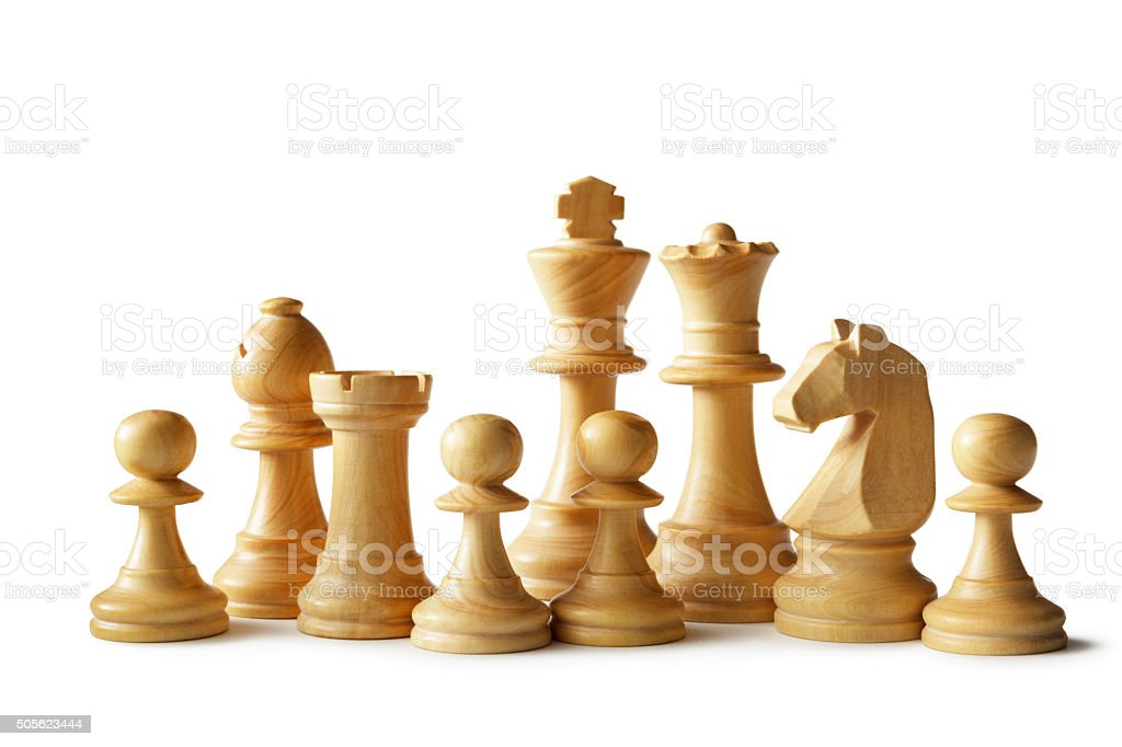Chess: White Team stock photo