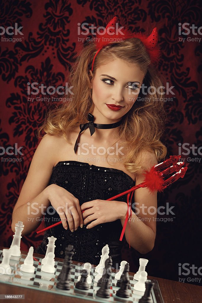 chess with the devil royalty-free stock photo