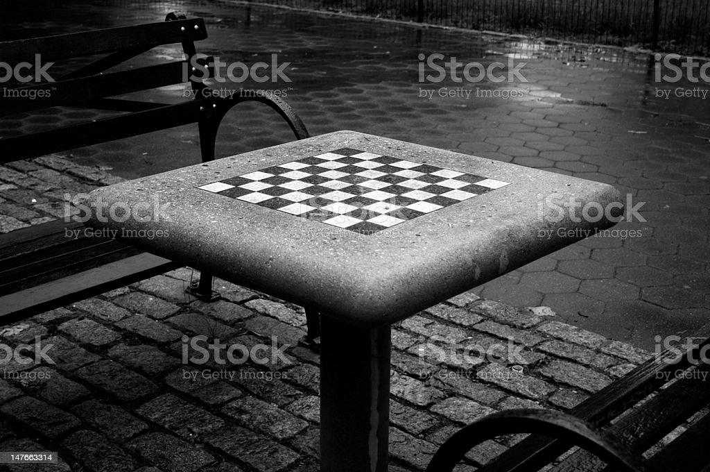 Chessboard in park stock photo