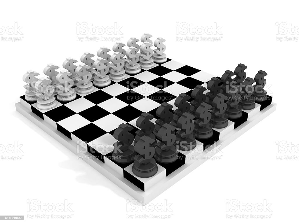 Chessboard with black and white Dollar currency symbols royalty-free stock photo