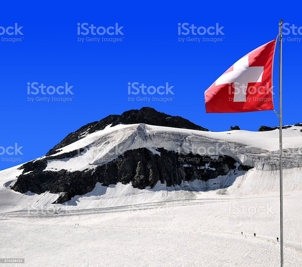 Chessjen glacier above the ski resort of Saas Fee stock photo