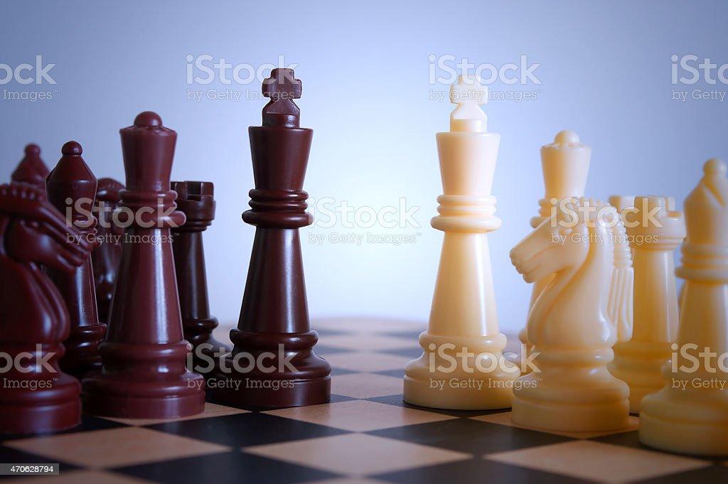 Chessmen combat stock photo