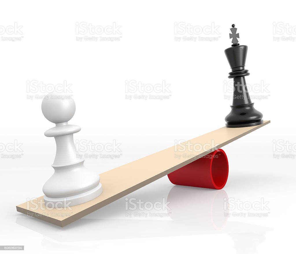 Chessmen on scales. The rivalry concept vector art illustration