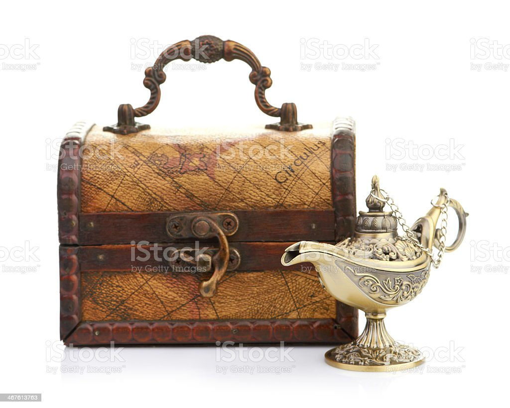 chest and aladin lamp stock photo