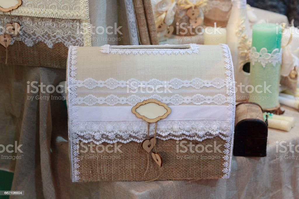 Chest and candles on the table in vintage style stock photo