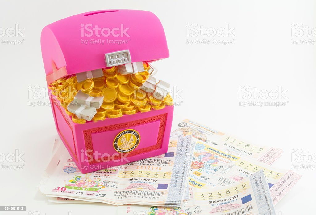 Chest bank  many thai lottery tickets , Save money Concept stock photo