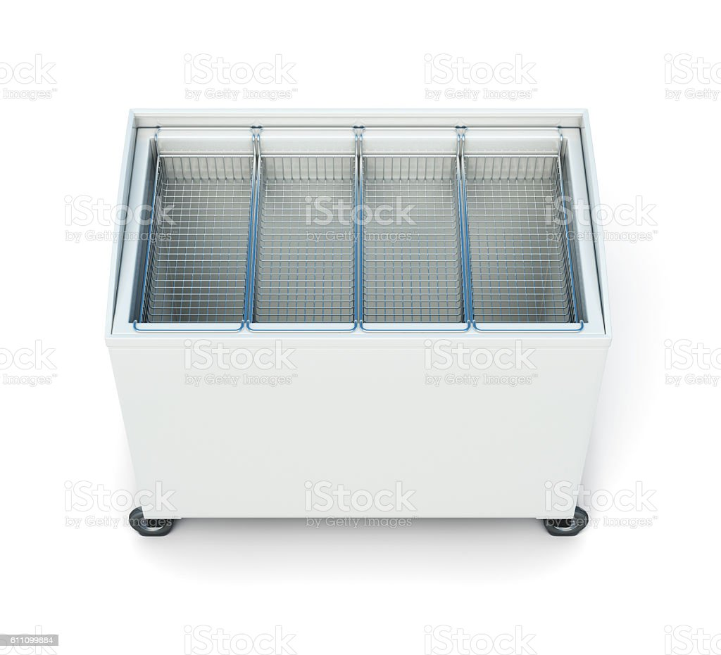 Chest freezer isolated on white background. 3d rendering stock photo