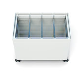 Chest freezer isolated on white background. 3d rendering
