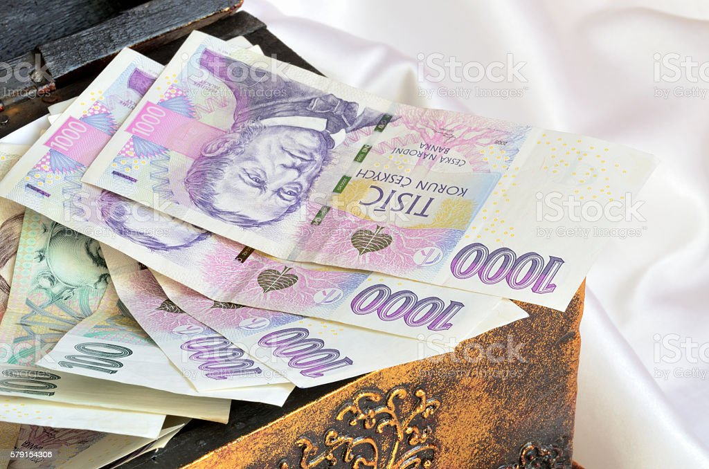 Chest full of czech banknotes money currency stock photo