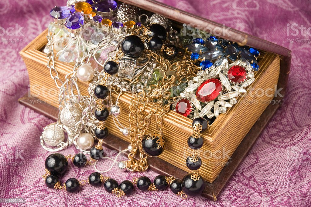 Chest full of jewelry royalty-free stock photo