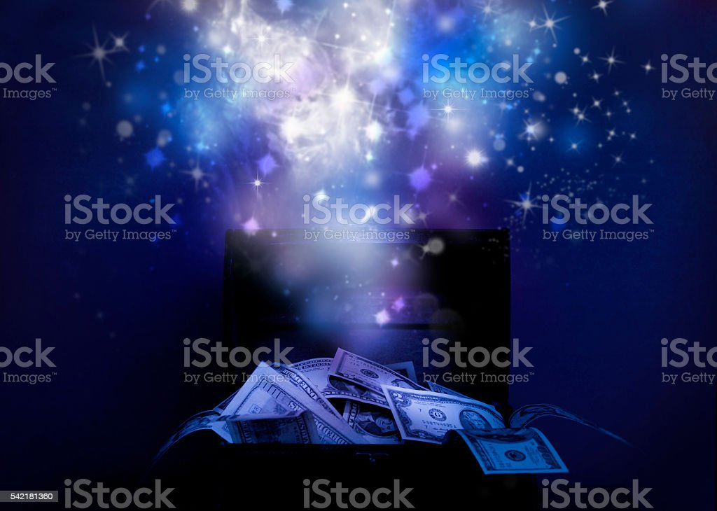 Chest full of money stock photo