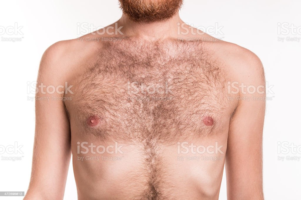 Chest of a man with hair stock photo