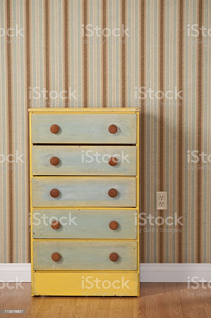 Chest Of Drawers in Empty Bedroom stock photo